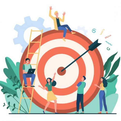positive-tiny-people-sitting-walking-near-huge-target-with-arrow-isolated-flat-vector-illustration-cartoon-business-team-achieving-goal-aim-marketing-strategy-achievement-concept_74855-10139